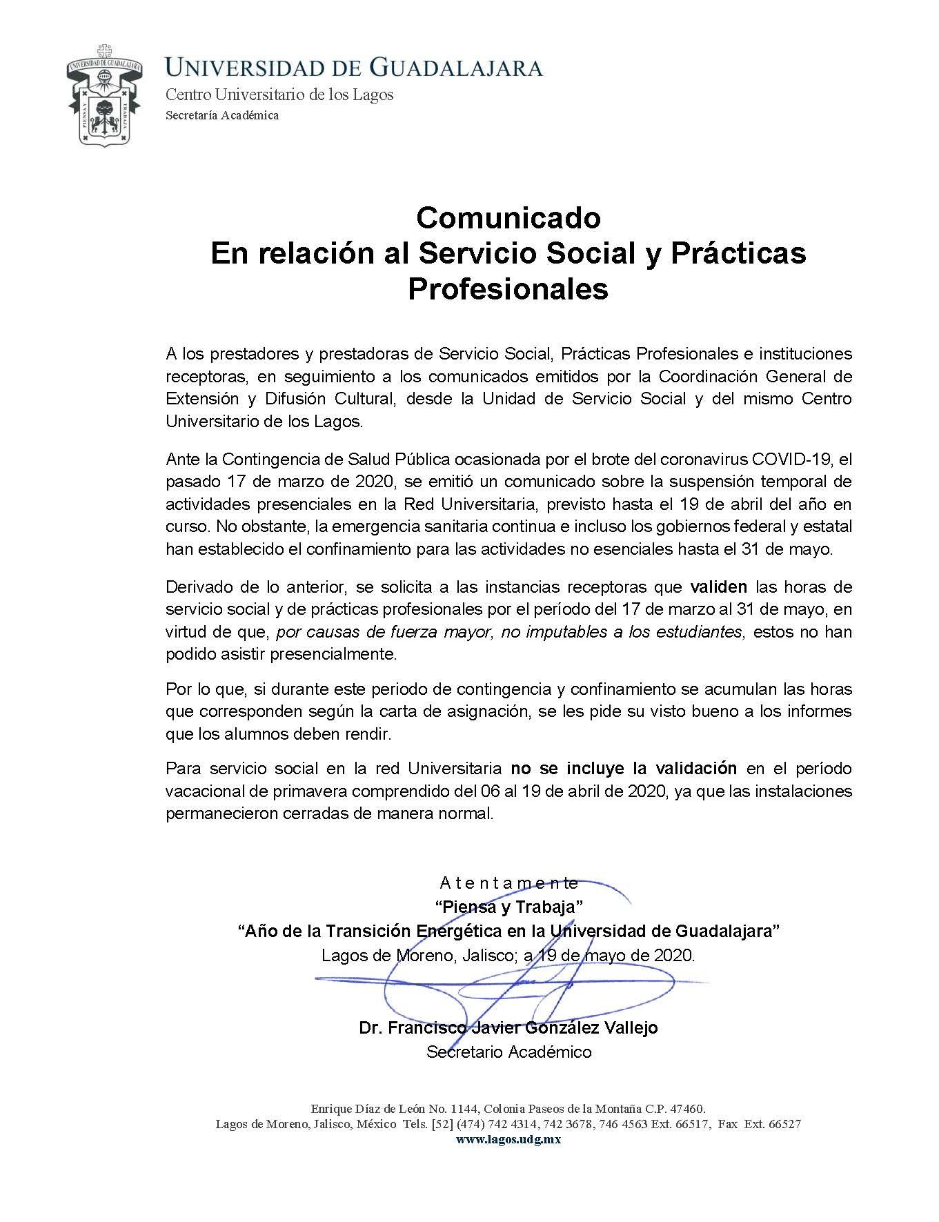 Comunicado en relación al Servicio Social y las Prácticas Profesionales