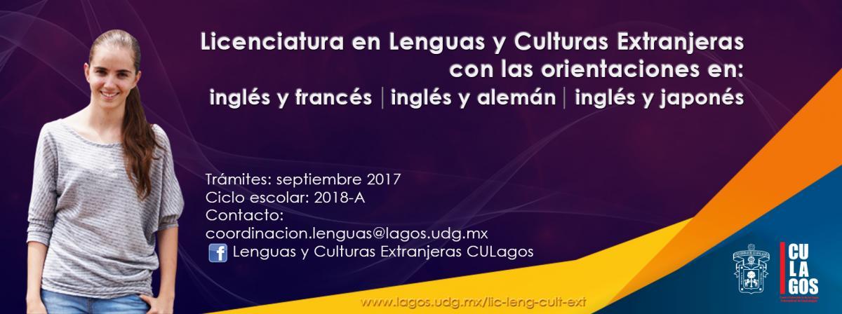 Banner Licenciatura en Lenguas y Culturas Extranjeras - tramites en septiembvre de 2017 para ciclo escolar 2018A