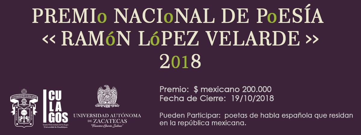 Premio Nacional de Poesía Ramón López Velarde 2018