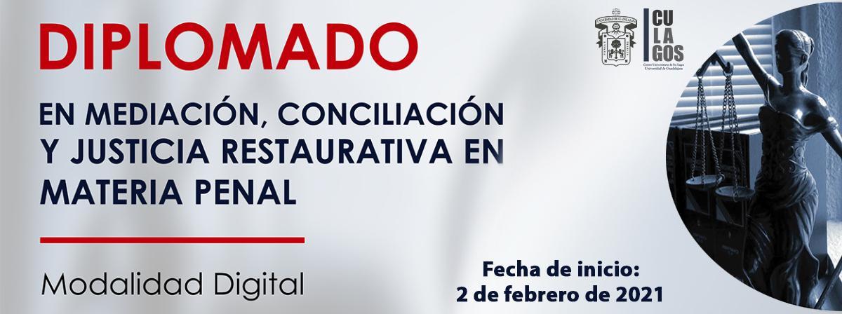 Banner Diplomado en mediación, conciliación y justicia restaurativa en materia penal