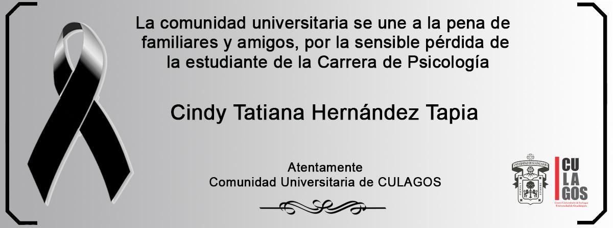 Esquela Cindy Tatiana Hernández Tapia