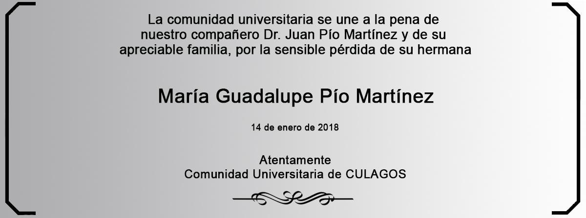 Esquela María Guadalupe Pío Martínez