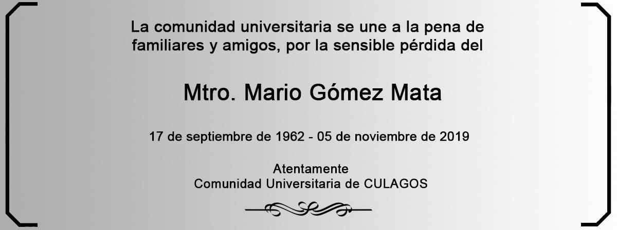 Esquela Mtro. Mario Gómez Mata