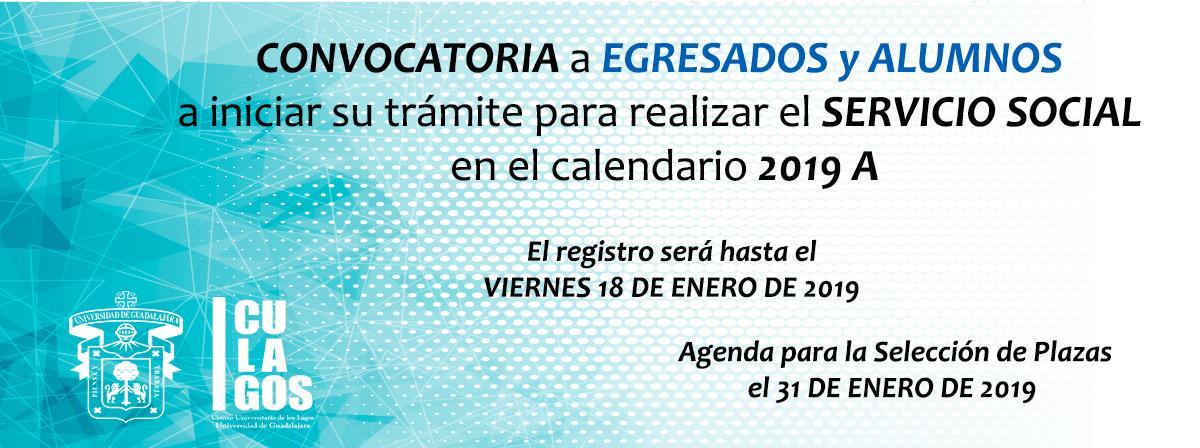 Convocatoria Servicio Social Egresados y alumnos 2019A