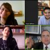 Captura de pantalla con los ponentes y la moderadora